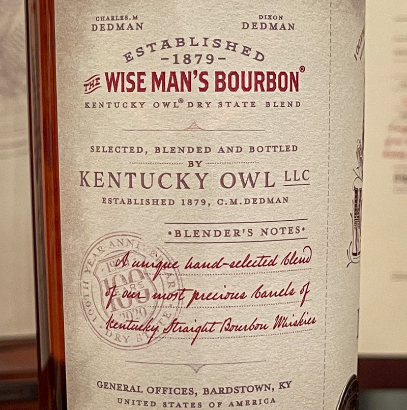Kentucky Owl Dry State label detail